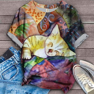Cat Sleeping Designed Art T-Shirt