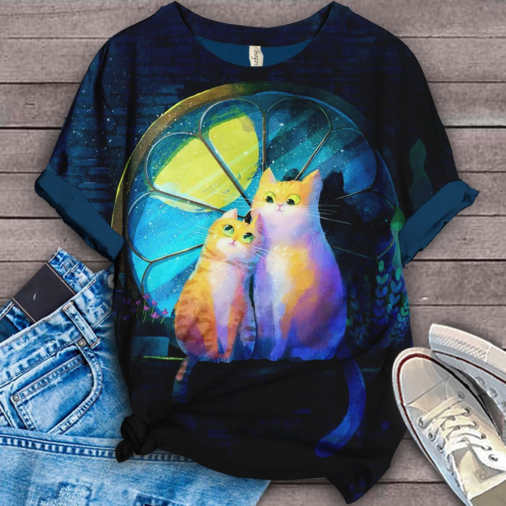 Cat Cute Designed Art T-Shirt