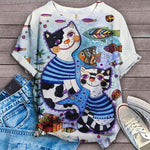 Cat Cartoon Design Art T-Shirt 2