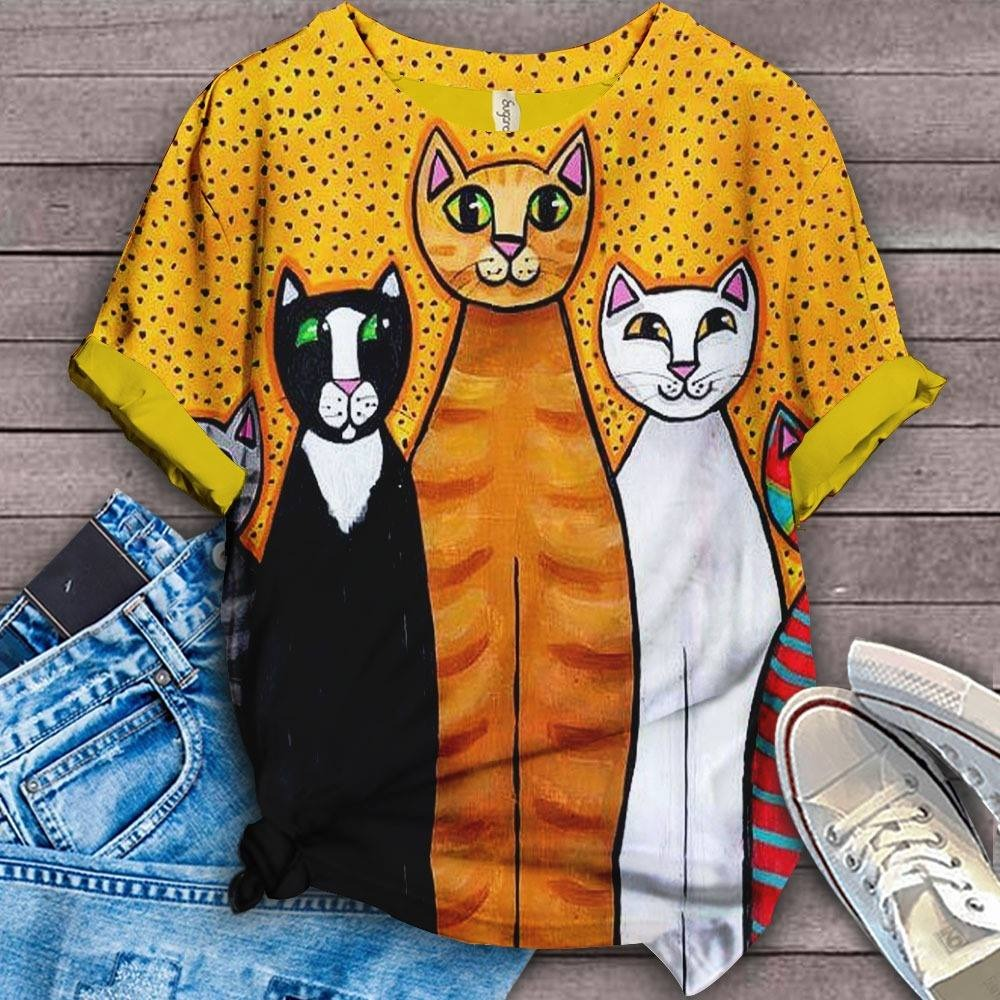 Cat Cartoon Design Art T-Shirt 3