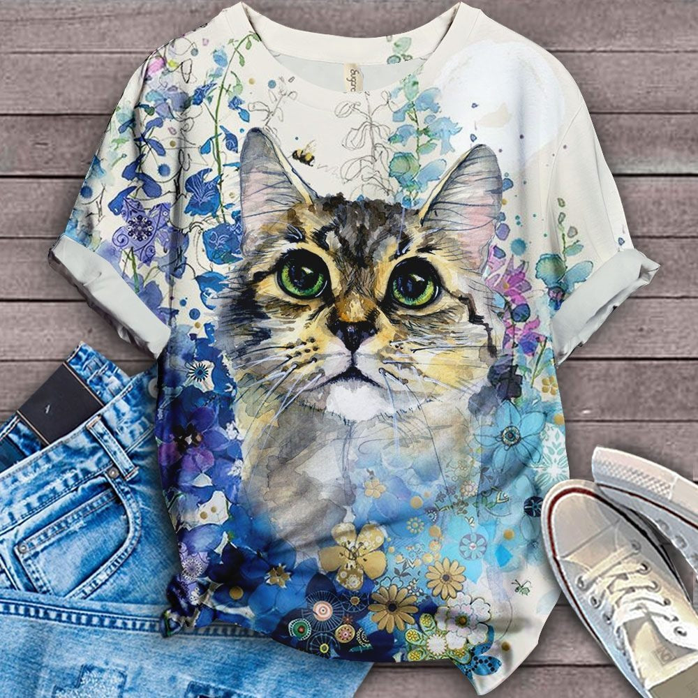 Cat Floral Love You T-Shirt 2