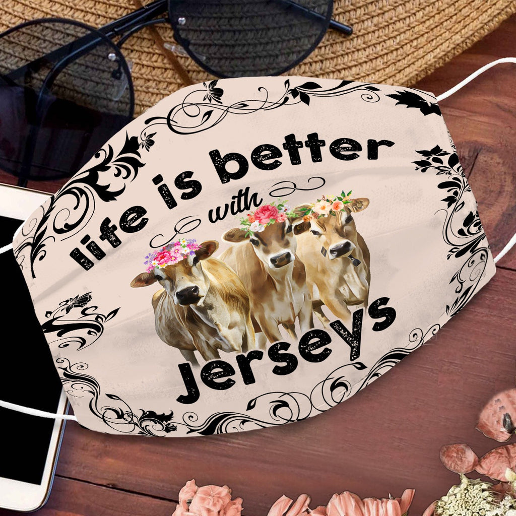 Face mask - COW funny - Life is better - Jerseys