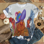 Noble Chicken Love You Floral Art T-shirt