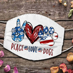 5. peace love dogs face mask - 18/7