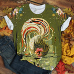 Colorful Chicken Gorgeous Floral Art T-shirt