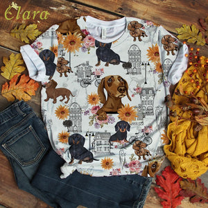 Flower Dachshund T-shirt City Art
