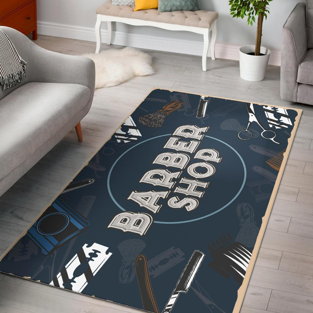 Barber Shop Area Rug Navy