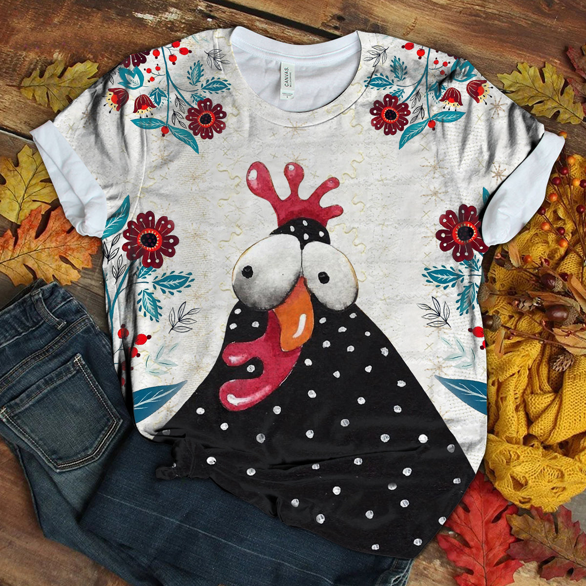 Lovely Chicken Floral Art T-shirt