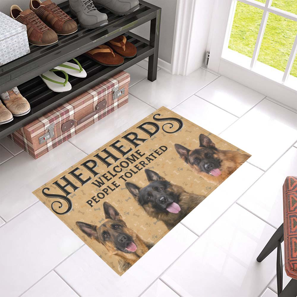 German Shepherds Welcome People Tolerated Doormat