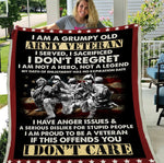 Army Veteran Blanket I Am A Grumpy Old Army Veteran I Served, I Sacrificed USAM Sherpa Blanket