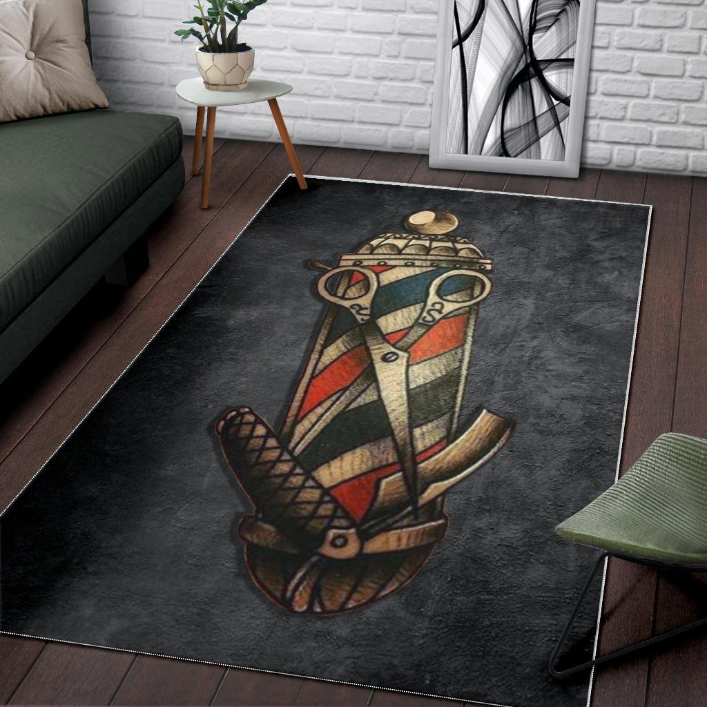 Barber Pole Tattoo Area Rug