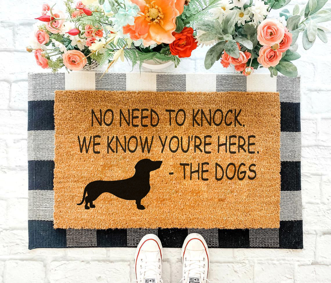No need to knock - Dachshund Doormat 01