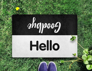 Hello Goodbye Black&White Doormat