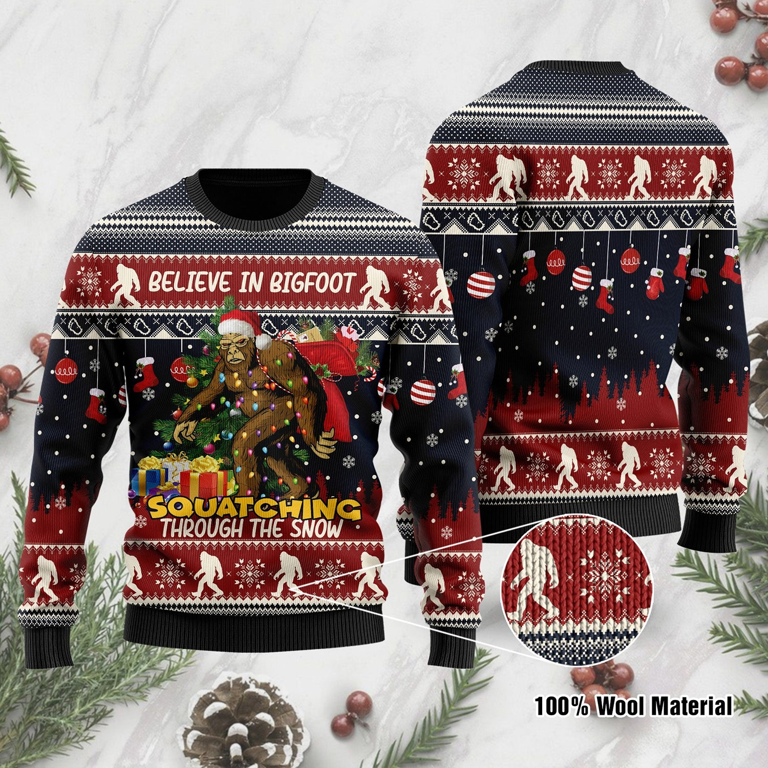 Bigfoot Ugly Sweatshirt For Bigfoot Lovers On Christmas Time