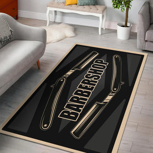 Barber Shop Area Rug Razor