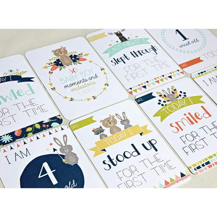 Baby Boy Moments and Milestones Cards