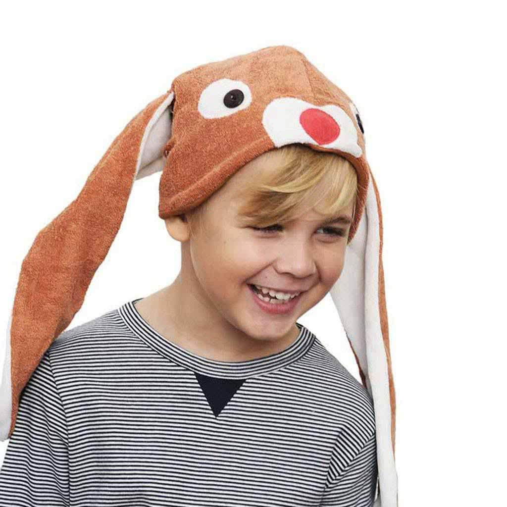 Cute Bunny Hat with Ears in Brown