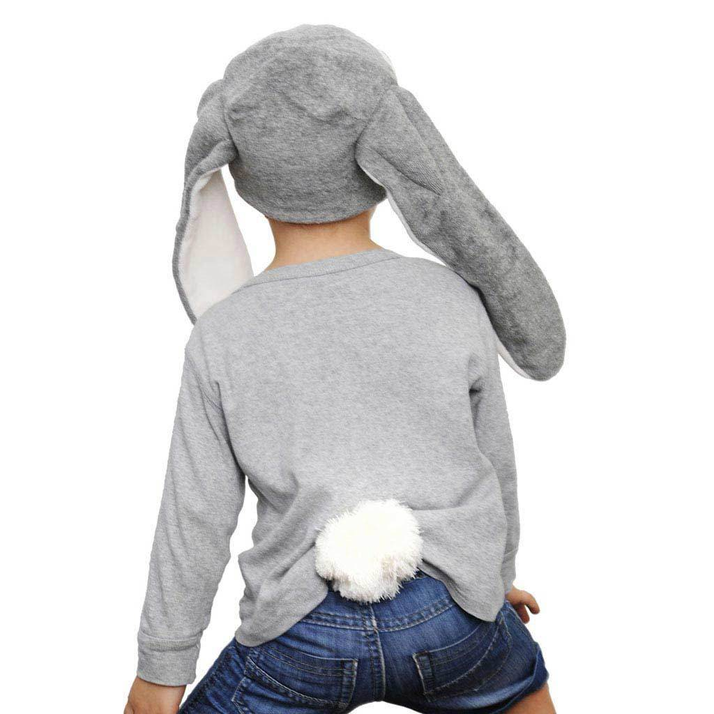 Kids and Adult Grey Bunny Costume Hat Bunny Tail