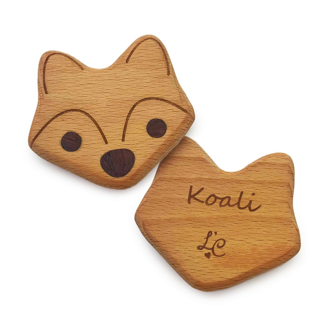 Lil Fox Natural Wooden Baby Rattle Toy