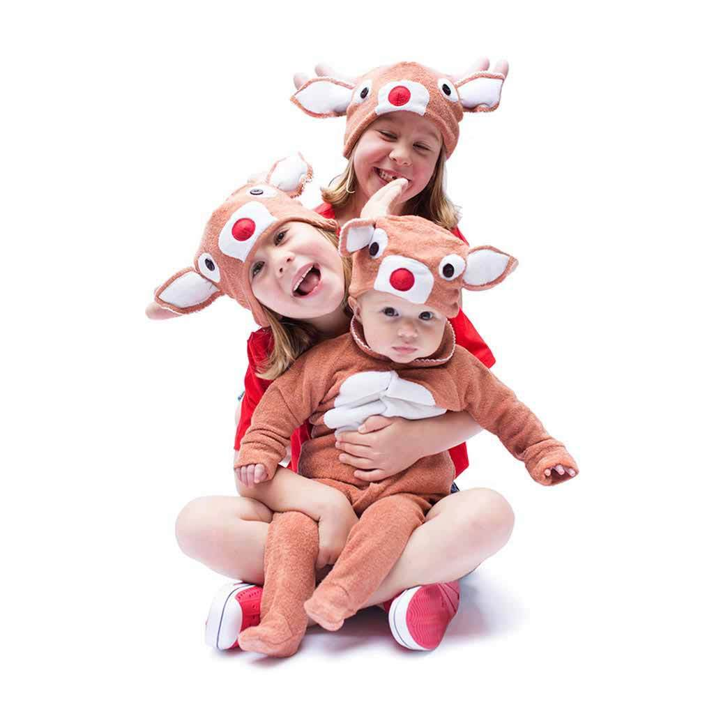 Lil' Red-nosed Christmas Reindeer Hat & Tail Set