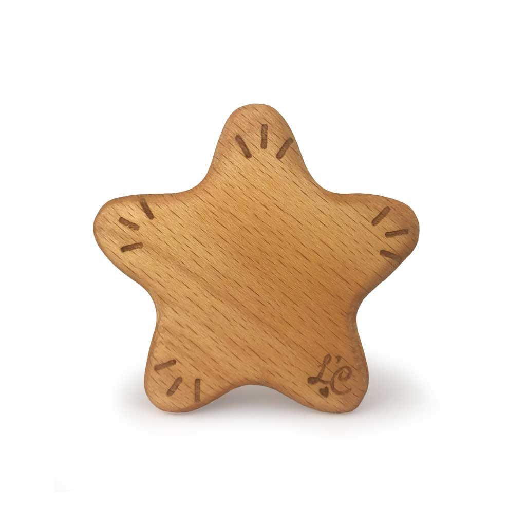 Wooden Christmas Star Baby Rattle