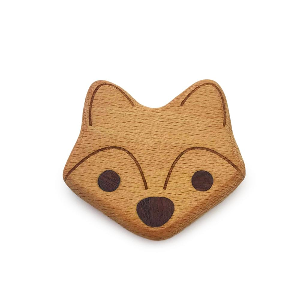 Natural Wooden Baby Rattle Fox