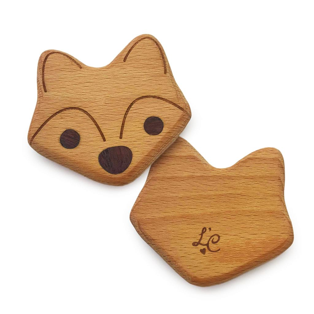 Fox Wooden Eco Baby Rattle