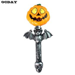 OCDAY Handheld Light Up Pumpkin Stick Portable Hallowen Party Cosplay Wand Sticks Baton Funny Horrible Sound With Operated Toys