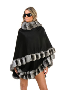 GENUINE CHINCHILLA FUR TRIM CASHMERE CAPE