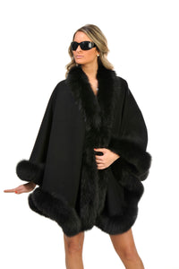 GENUINE FOX FUR TRIM CASHMERE WOOL CAPE