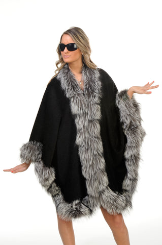 GENUINE SILVER FOX FUR TRIM ALPACA CAPE