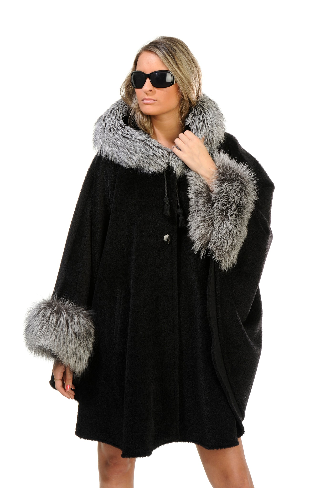 GENUINE SILVER FOX FUR TRIM ALPACA HOODED CAPE