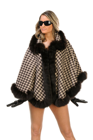 GENUINE FOX FUR LACE TRIM WOOL CAPE