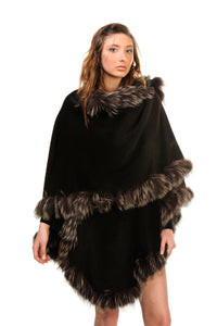 GENUINE SILVER FOX FUR LACE TRIM ALPACA CAPE