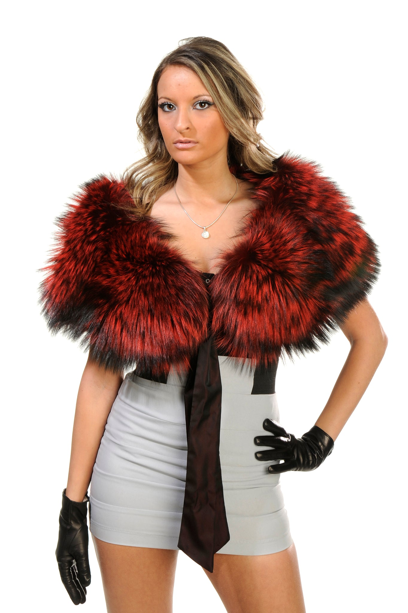 GENUINE SILVER FOX FUR COLLAR