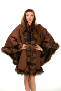 GENUINE SILVER FOX FUR TRIM CASHMERE CAPE