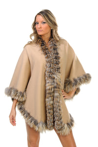 GENUINE FOX FUR LACE TRIM CASHMERE REVERSIBLE CAPE