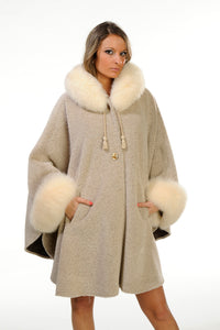 GENUINE FOX FUR TRIM ALPACA CAPE