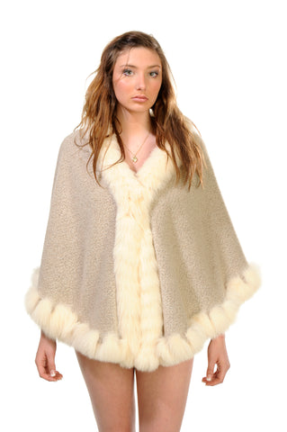GENUINE FOX FUR LACE TRIM ALPACA CAPE