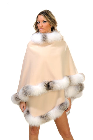 GENUINE GOLDEN ISLAND SHADOW FOX FUR TRIM CASHMERE CAPE