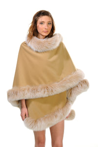 GENUINE FOX FUR TRIM CASHMERE CAPE