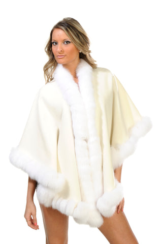 GENUINE FOX FUR LACE TRIM CASHMERE CAPE