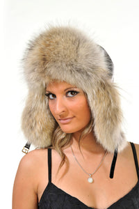 GENUINE COYOTE FUR AVIATOR HAT