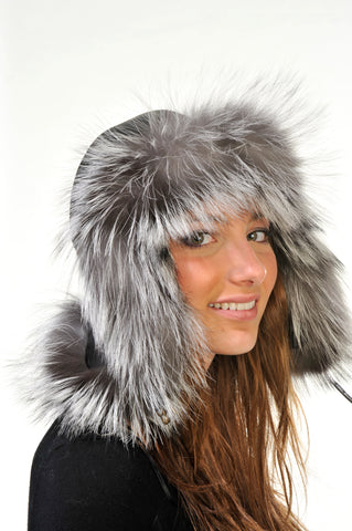 GENUINE SILVER FOX FUR AVIATOR HAT