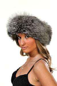 GENUINE SILVER FOX FUR HAT SUEDE TOP