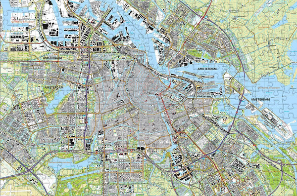 Amsterdam City Map 300 Piece Wooden Jigsaw Puzzle
