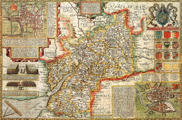 Gloucestershire 1610 Historical Map 300 Piece Wooden Jigsaw Puzzle