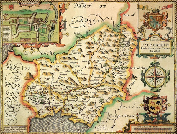 Carmarthenshire Historical Map 1000 Piece Jigsaw Puzzle (1610) - All Jigsaw Puzzles UK  - 1