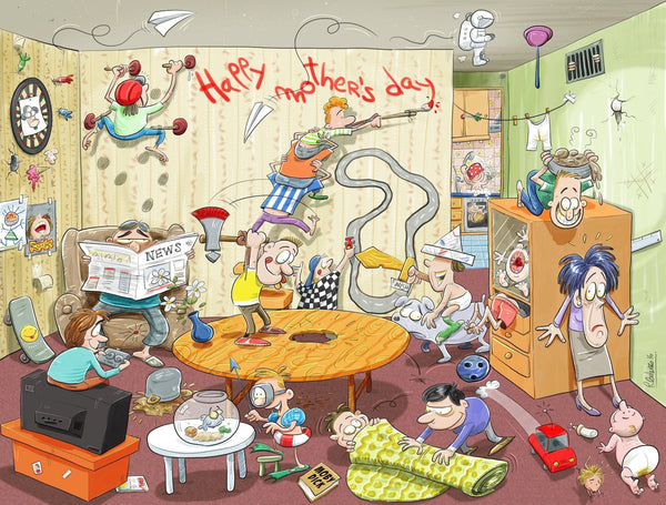 Jigsaw Puzzle - Chaos On Mother's Day 1000 Or 500 Piece Jigsaw Puzzle