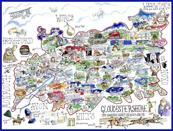Jigsaw Puzzle - Comical Map Of Gloucestershire - Tim Bulmer 1000 Piece Jigsaw Puzzle